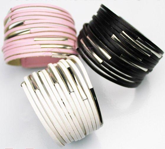 Hot koop riem gesp 13-laag filamenten PU lederen brede armband lederen armband 10 stks
