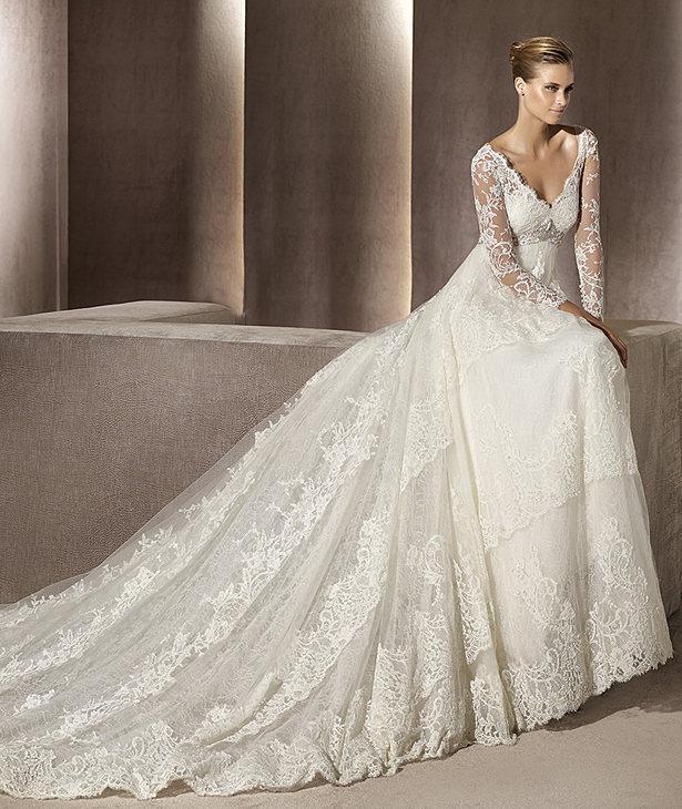 2015 Wedding Dresses Simple Empire Waist Long Sleeve