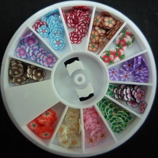 Fimo Nail Art Nail Tip Polymer Clay DIY 3D Mix Tips UV Acrylic Decoration Wheel Animal Flower Fruit
