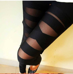 Wholesale Wholesale Women Winter Tights - Ripped Tights Cut-out Bandage Black Leggings Sexy Pants 2017 New Autumn Winter Woman Lady Leggings trousers Sexy Slim Pants
