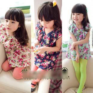 best selling HOT Spring Kid's clothing girls V-neck dresses tops t-shirt Sleeveless floral dress 5 pcs lot