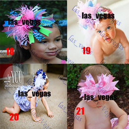Wholesale Satin Bow Inch - 5-6 inch girls hair bow with feather grosgrain baby hair clips hair bows satin baby hairbows sara-9
