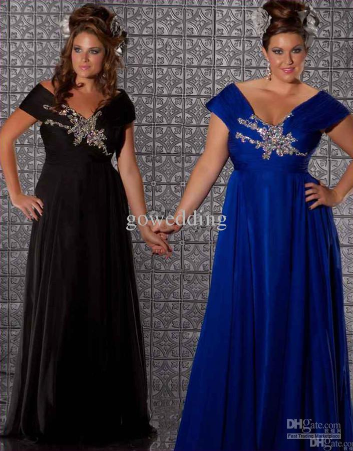 Cheap 2012 Plus Size Royal Blue Off The Shoulder Chiffon Beaded ...
