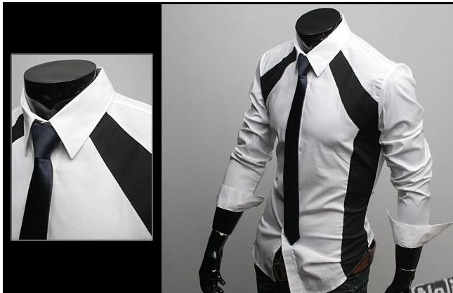 2017 Men Shirts Casual Slim Fit Stylish Dress Shirts Size,S,M,L,Xl ...
