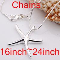серебряная змея оптовых-Оптовая продажа 40 шт. 925 серебряный кулон ожерелья, мода Звезда кулон змея ожерелья смешанный порядок цепи размер 1 мм 16 дюймов-24 дюймов