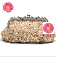 Wholesale Beaded Evening Purse Gold - 2016 Free Shipping 100% Handmade Fashion Beaded Women's Evening Handbags Purse Bridesmaid Clutch Wedding Bridal Handbags