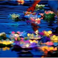 ingrosso fiori di loto della lampada-Lampada di candela di trasporto libero Nuovo 20 pezzi Lanterna di carta galleggiante di Lotus Flower Wishing Lamp