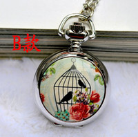 Wholesale Vintage Bird Cage Watch Necklace - Classic Vintage Antique Pocket Watches With Long Chain Bird Cage Sliver Color Unisex necklace Watch Gift