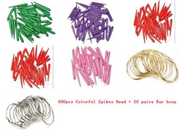 Wholesale Diy Hoops - 800pcs Basketball Wives Colorful Spikes Bead Charm Beads DIY Earring + 20 pairs Ear hoop