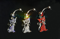 Wholesale Hot Navel Chain - Newest Cute Cat Dangle Chain Belly Bar Piercing Navel rings Body Jewellry High Quality Hot sale