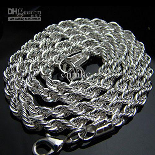Bulk a 925 Sterling Silver Chains Necklaces , Hot Trendy Fashion Men's Rope 3mm 22inch Chain Necklace Good Selling High Quality