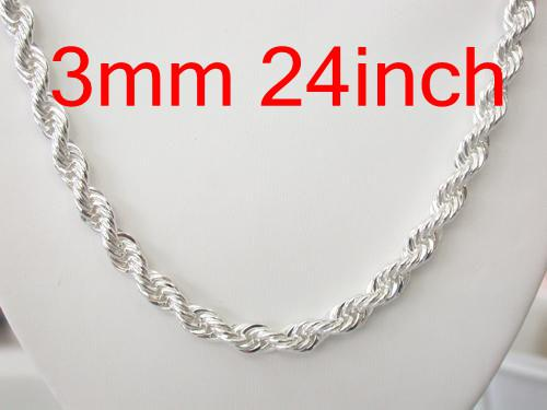 Bulk a lot 50pcs 925 Sterling Silver Chains Necklaces , Hot Trendy Fashion Men's Rope 3mm 22inch Chain Necklace Good Selling High Quality