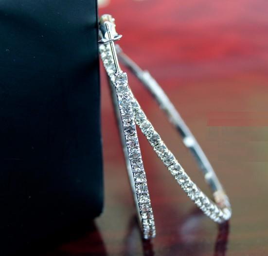 Art und Weise große Kreis-Ohrringe 925 silberner glänzender Kristallohrring am besten als Frauengeschenke Band 30mm ~ 70mm