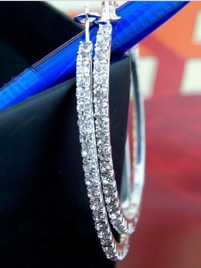 バスケットボールウィブスフープイヤリングシルバーポリッシュ1列30mmクリスタル925シルバーメッキイヤリング用女性イヤリングパーティー送料無料