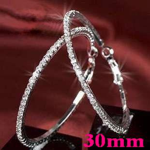 best selling Basketball wives Hoop Earrings Silver Polish 1 Row 30mm crystals 925 silver plated earrings for women earrings party Free Shipping
