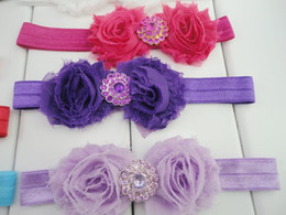 Wholesale Crystal Double Headbands - Double Chiffon Shabby Frayed Flower Headbands with Crystal Buttons Nylon Hair Band Newborn Photography Props 20pcs lot QueenBaby