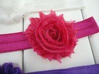 Wholesale Rosette Shabby Chic Flowers - Trial order Mini Frayed Shabby Chic Rosettes Headbands Chiffon Flower Nylon Elastic Hair Band 30pcs lot QueenBaby