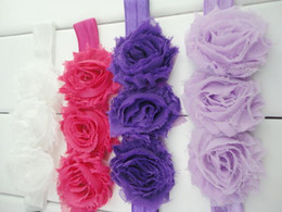 Wholesale Shabby Chic Wholesale Headband - Chic Triple Shabby Flower Headbands Baby Girl Nylon Hair Bands Newborn Photography Prop 30pcs lot QueenBaby