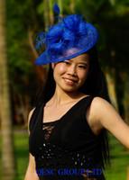 fascinator azul sombreros al por mayor-NUEVO Royal blue feather sinamay fascinator formal hat en forma ESPECIAL para bodas, fiesta, kentucky derby.
