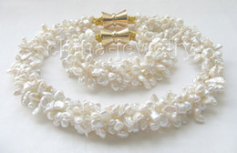"Wholesale Keshi Pearl White - 18"" & 8"" 5row 8mm white keshi reborn FW pearl necklace"