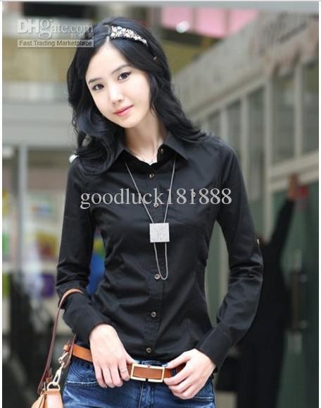 Новый женский дамы девушки Мода длинным рукавом футболки весна осень нагрудные кнопки нижнего Рубашки