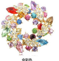 Wholesale Wholesale Bling Brooches - Luxury Bling Austrian Crystal Flower Wreath Brooch Collar Pins Colorful Rhinstone Lovely Brooches Jewelry wholesale Pink Blue Green Red Mix