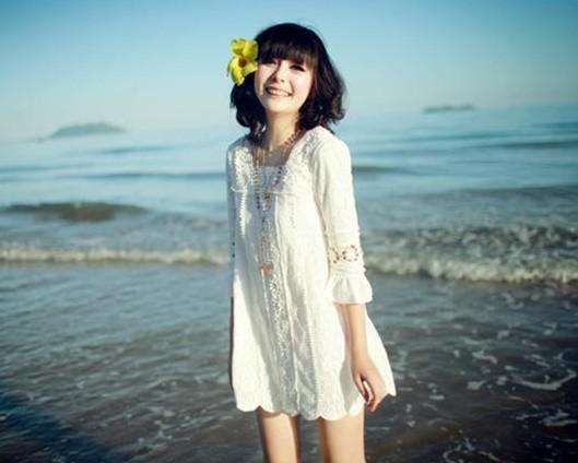 新しい女の子のファッション中袖レーストップスリムミニホワイトドレスプリスドレスvestido