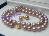 "Natural Lavender Fine 17"" 7.5mm Akoya Purple Pearls Necklace Earrings 14K"