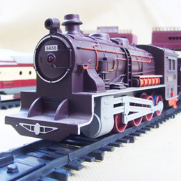 Wholesale Best Headlights - Promotion 1:87 9.4m Electric Train Engine Toys Headlight Musical Railway Track+Carriages Best Gift without original box