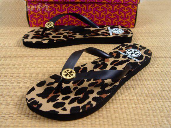 Tory Burch Flip Flops Black Leopard Sz