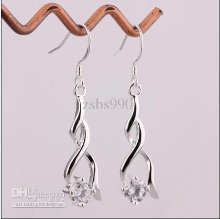 100% nieuwe hoge kwaliteit 925 zilver zirkoon oorbellen mode dames sieraden gratis verzending 15pair / lot