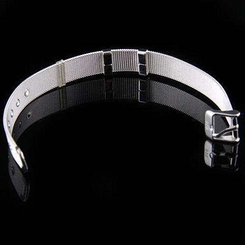 Wholesale 925 Silver Bracelets Women's Jewelry .Vouge Design Mesh Watchband Pin Buckle- Clasp Bracelets 10mm H237