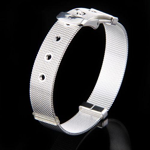 Wholesale 30pcs 925 Silver Bracelets Women's Jewelry .Vouge Design Mesh Watchband Pin Buckle- Clasp Bracelets 10mm H237