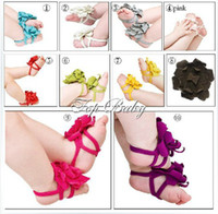 Wholesale Top Baby Flower Sandals Shoes - Popular top baby Foot flower!Baby Barefoot Sandals Red Baby Shoes Toddler Shoes 12pairs(24pcs