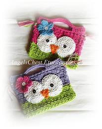 Wholesale Crochet Owl Purses Handbags - New Cute Hand Crochet OWL Purse Handbag Boutique GIRL'S purse wallet hot pink green applique