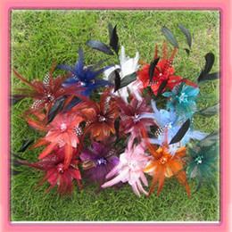 Wholesale Hair Clip Brooches - Free shipping!4'' feather flowers brooch pin hair alligator clip 6pcs Lot