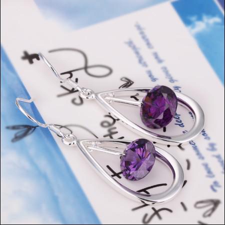 Bästsäljande 925 silver kristall örhängen mode damer smycken gratis frakt 15pair / mycket