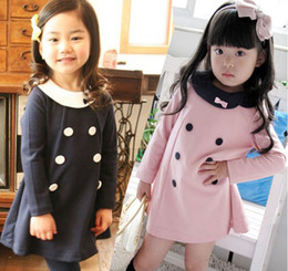 Robe Robe Fille Pas Cher-New Girls Robes Lapel Long Sleeve Lovely Dress 5pcs (taille différente) / Lot