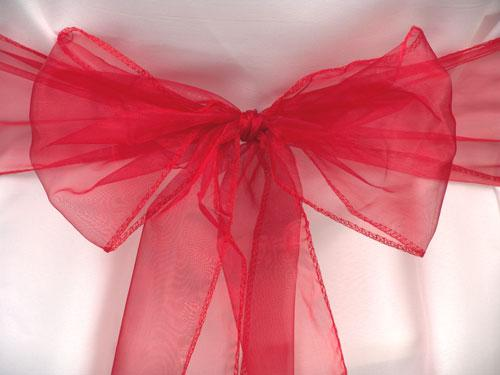 25pcs Red Organza Sashes Chair Cover Bow Wedding Party Banquet Sash High Quality