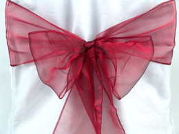 Wholesale Sky Blue Organza Chair Sash - 50pcs Burgundy (Wine Red) Organza Sashes Chair Cover Bow Wedding Party Banquet Sash High Quality