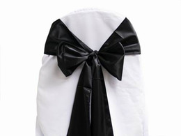 Wholesale White Satin Banquet Chair Covers - 50 pcs lot Black Satin Chair Sash Chair Cover Bow Wedding Party Banquet Sashes High Quality New