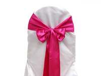 Wholesale Hot Pink Satin Chair Sashes - 25pcs lot Hot Pink Satin Chair Sashes Chair Cover Bow Wedding Party Banquet Sash High Quality New