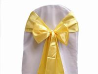cubiertas de la silla de la boda de satén amarillo al por mayor-50 unids / lote Amarillo Satinado Silla Fajas Cubierta Arco Banquete de Boda Banquete Sash Alta Calidad Nuevo