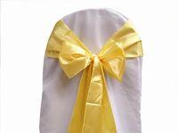 желтые стулья оптовых-50 шт./лот желтый атласный стул створки обложка лук свадьба банкет створки высокого качества Новый