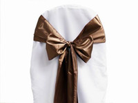 Wholesale ivory polyester banquet chair covers for sale - Group buy 25pcs Chocolate Satin Chair Sashes High Quality Cover Bow Wedding Party Banquet Sash Supplies New