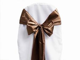 $enCountryForm.capitalKeyWord UK - 25pcs lot Chocolate Satin Chair Sashes High Quality Cover Bow Wedding Party Banquet Sash Supplies New