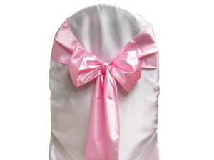 25pcs Pink Satin Chair Sashes Chair Cover Bow Wedding Party Banquet Sash High Quality Choose color New