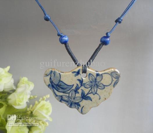 Personlig Vintage Lång halsband för kvinnor Keramiska handgjorda flätade halsband 2st / gratis