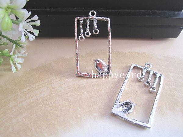 Antik silver fågel charms 18mmx30mm, smycken tillbehör 50pcs / parti