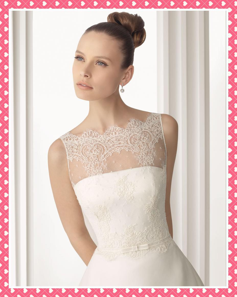 Discount Designer 2012 New Ivory Wedding Dresses Sheer Lace Bowsknot ...